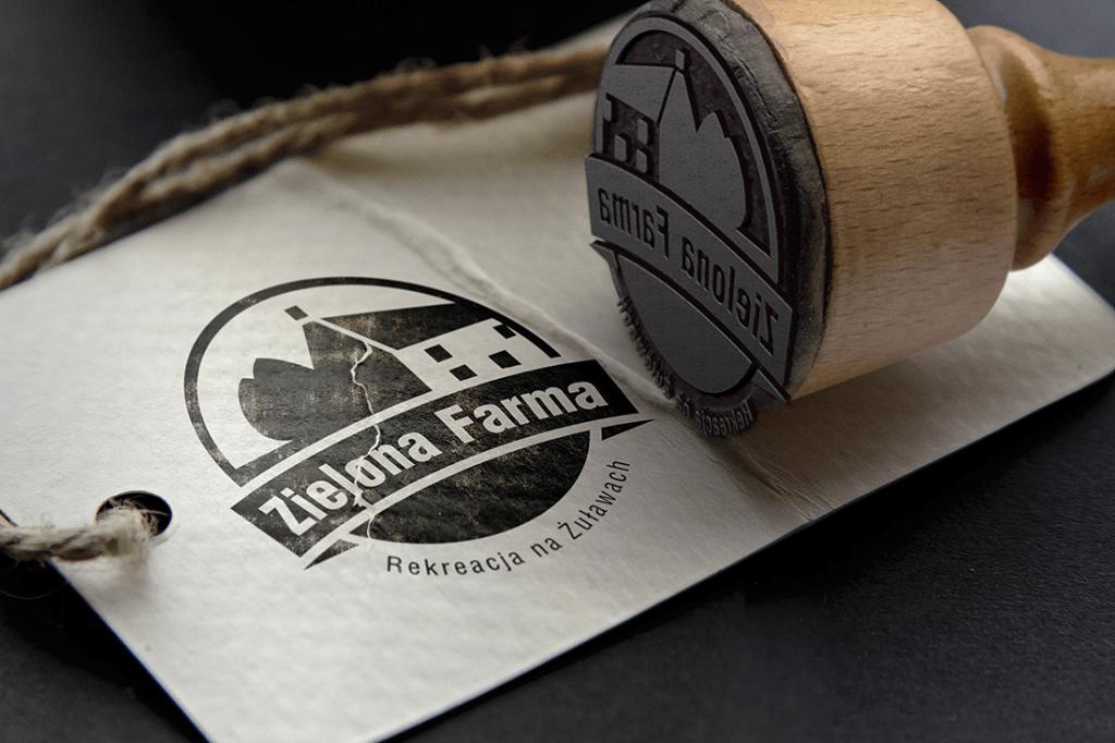 Zielona Farma - pieczątka z logo