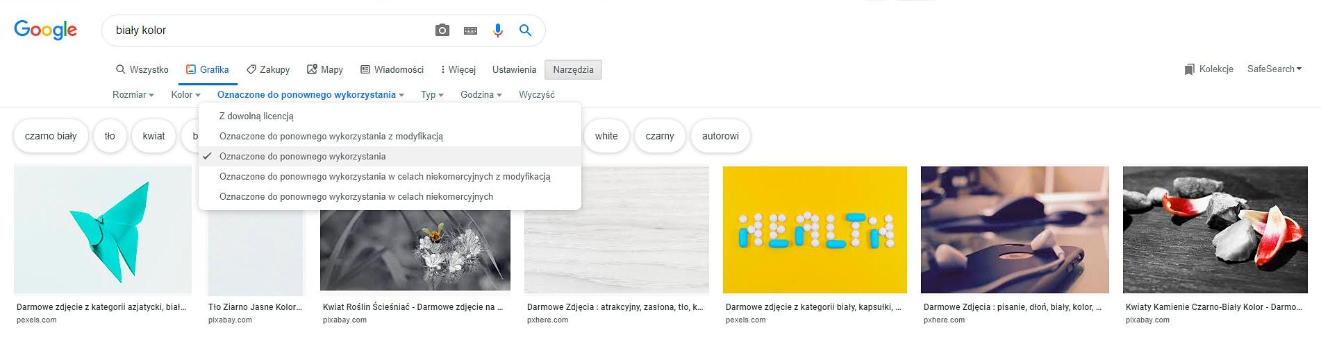 Google images - jak wyszukać darmowe zdjęcia